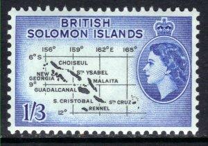 British Solomon Islands 1956 - 63 QE2 1/-3d Black & Blue Map Umm SG 91b ( H13...