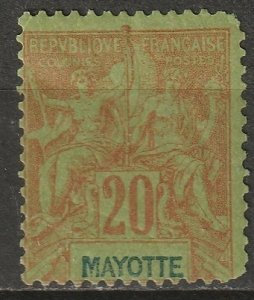 Mayotte 1892 Sc 9 MH* some disturbed gum