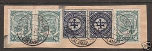 Colombia Sc 396/C44 used, 5 stamps on piece, 1929 CDS
