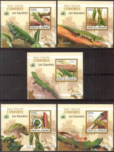 {103} Comoros 2009 Lizards 5 S/S Deluxe MNH**