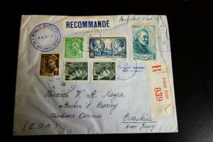 France Registered 1933 Cover to Cresskill NJ VF Condition