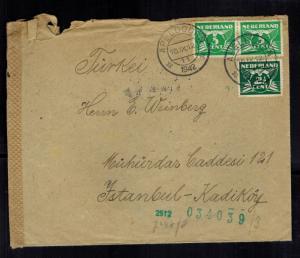 1942 Apeldorn Netherlands Cover to Istanbul Turkey Weinberg Judaica Julius Meyer