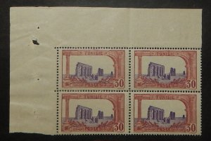 Tunisia 41. 1919 30c Red brown and violet Roman Ruins, block, NH