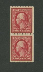 1910 United States Postage Stamp #391 Coil Pair Mint Never Hinged Original Gum