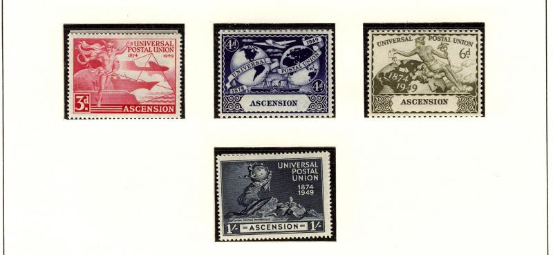 ASCENSION  UPU  1949 #57 - 60  MNH