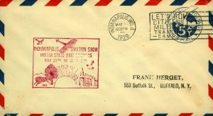 USA 1929 Indianapolis Aviation Show cover with cachet with Indianapolis Milit FU