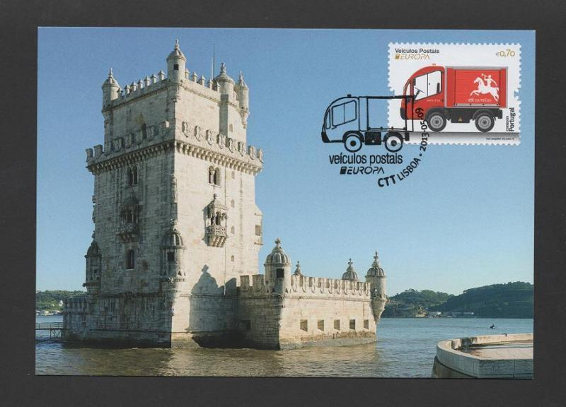 MAXIMUM CARD PORTUGAL EUROPA 2013 LISBON BELEM TOWER & POSTMAIL TRUCK automobile