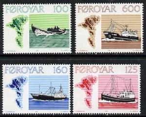 Faroe Islands 1977 Fishing Boats set of 4 unmounted mint ...