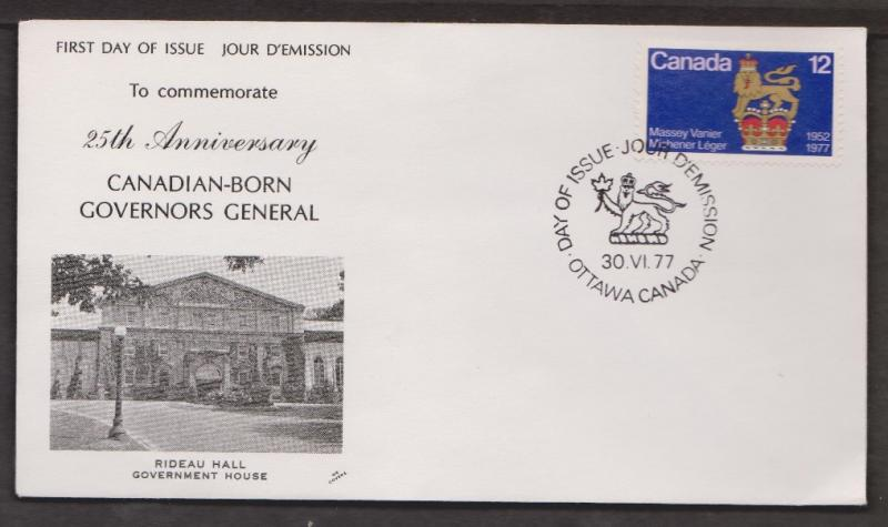 CANADA Scott # 735 On FDC - Canadian Born Governors General NR Covers Cachet