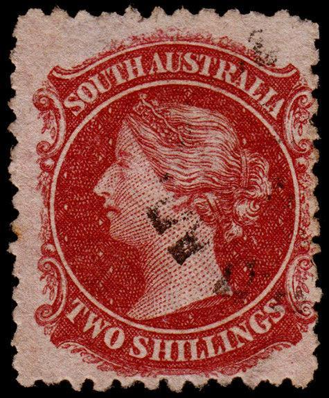 South Australia Scott 53e (1869) Used F, CV $22.50 M
