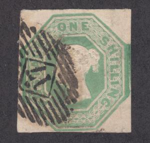 Great Britain Sc 5 used 1847 1sh pale green imperf Queen Victoria, 17 in grid