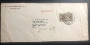 1950s Mexico city Mexico Airmail Cover To Newark NJ USA Negrita laxative label