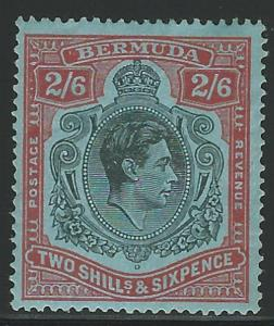Bermuda, 1938, Scott #124a, 2sh 6p red & black, Mint, H., V.F.