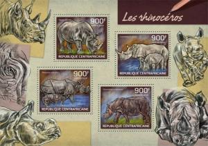 Central Africa - 2014 Rhinoceros on Stamps - 4 Stamp Sheet - 3H-659