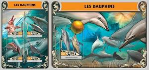 Niger 2016 marine life dolphins klb+s/s MNH