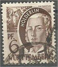 WURTTEMBERG, French Occup. 1948 used 6pf Holderlin, Scott 8N15