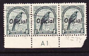 NEW ZEALAND  1935-42 1/- PICTORIAL OFFICIAL PLATE STRIP 3 #A1 FU CP LO12c