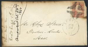 US Fancy Cancel - Crossroads CR-X 23 Lowell Mass 1864 Civil War Era  S1269