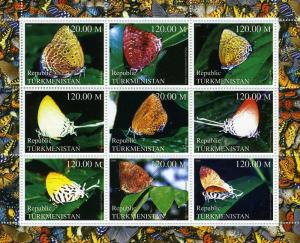 Turkmenistan 2000 BUTTERFLIES Sheet (9) perforated Mint (NH)