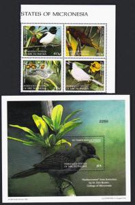 Micronesia Monarch Starling White-eye Birds 4v+MS SG#629-MS633