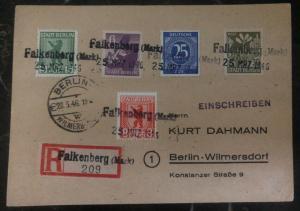 1946 Falkenberg Germany Postcard Registered Cover To Berlin