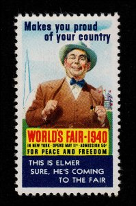 POSTER STAMP 'THIS IS ELMER' WORLD'S FAIR NEW YORK 1940 MNG