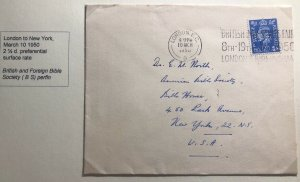 1950 London England British Bible House  Cover To New York USA Perfin Stamp