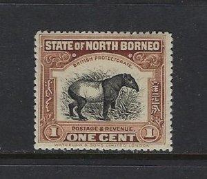 NORTH BORNEO SCOTT #136 1909-22 PICTORIALS PERF 14- 1 CENT- MINT HINGED