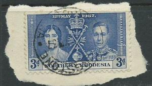 Northern Rhodesia  SG 24 VFU  on piece day of issue cancel