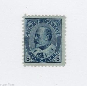 Canada 1903 #91 * MH F 5 cent blue on blue paper.