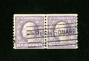 US Stamps # 493 VF Line Pair Used Scott Value $90.00