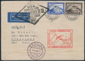 DOX 1931 FLIGHT COVER WITH ZEPPELIN STAMPS BR8643