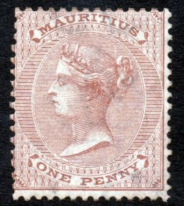 MAURITIUS Queen Victoria 1863 One Penny Purple-Brown Wmk Crown CC SG 56 MINT