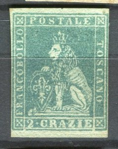 ITALY; TUSCANY Arms 1851 classic Imperf issue Scarce Mint unused 2c. value