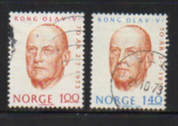 Norway Sc  619-20 1973 70th Birthday King stamp set used