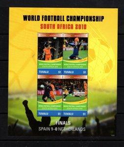 Tuvalu  #1149 (2010 Spain in World Cup Soccer sheet) VFMH CV $7.50