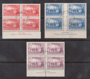 Australia #163 - #165 VF Used John Ash Imprint Blocks Of Four