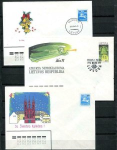 Lithuania 1990/1 3 Postal Stationary Covers Independence New year Christmas 9669