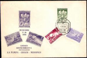 AAF-336 ARGENTINA 1956 FLORA MATE,COTTON,NEW STATES FDC              .