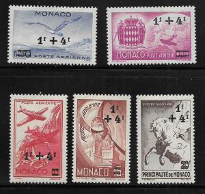 MONACO, CB1-CB5, MINT HINGED, TYPES OF 1942 AIR POST
