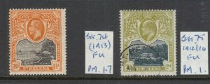 ST HELENA 1912 1.5D AND 2D USED SG74 AND SG75