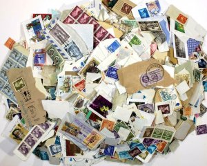 GB, Worldwide. On, Off Paper Mixed Oddments. One pound weight approx (454 grams)