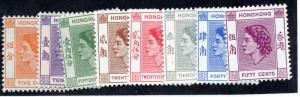 Hong Kong, 1954, sg 178-185 QE set to 50c, UM