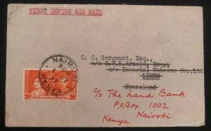 1937 Nairobi Kenya First Return Flight Cover FFC To Limbe Nyasaland