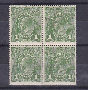 G140) Australia 1924 1d green no wmk blk of 4 var 'Dot before 1' ACSC 79 Mint