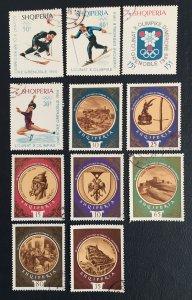 Albania,1967, Sc#1103,1095-1100,skanderbeg,wintet Olympic,sky, Sport,