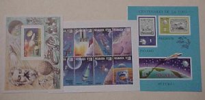 NICARAGUA  SPACE 3 SHEETLETS IMPERF UPU & 2 OTHERS MINT NH