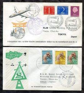 d53 - Netherlands 1961 & Neth New Guinea 1958 KLM First Flight Covers to JAPAN