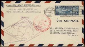 USA 1930 Graf Zeppelin Germany C15 Si64C Cover Chicago IL VF XF 92116