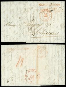 1839 Stampless, ANTWERP - LOOPUYT & CO SCHIEDAM, HOLLAND, Interest Straightline